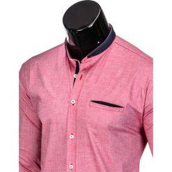 KOSZULA MĘSKA Z DŁUGIM RĘKAWEM K360 - CZERWONA. Brązowe koszule męskie na spinki marki Ombre Clothing, m, z aplikacjami, z kontrastowym kołnierzykiem, z długim rękawem. Za 49,00 zł.