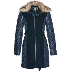 Płaszcze damskie: Krótki płaszcz z kołnierzem ze sztucznego futerka bonprix ciemnoniebieski