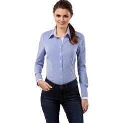 Bluzka w kolorze niebiesko-białym. Białe topy sportowe damskie Vincenzo Boretti, z bawełny, z klasycznym kołnierzykiem, z długim rękawem. W wyprzedaży za 217,95 zł.