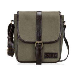 Skórzana torba na ramię / tablet Solier VITOR zielona. Zielone torby na ramię męskie Solier, w paski, z bawełny, na ramię. Za 199,90 zł.