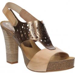 Sandały skórzane ażurowe Ana Roman 17344. Brązowe sandały damskie Ana Roman, w ażurowe wzory. Za 229,99 zł.