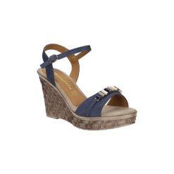 Sandały Tamaris  Sandały skórzane na koturnie z ozdobami  1-28348-28. Szare sandały damskie marki Tamaris, na koturnie. Za 168,99 zł.
