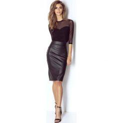 Odzież damska: Czarna Spódnica Ołówkowa w Klasycznym Stylu z Eko-skóry