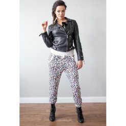 Spodnie damskie: Spodnie dresowe w kolorowe centki kremowy ściągacz 428