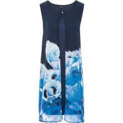 Sukienka z szyfonową narzutką w kwiaty bonprix ciemnoniebiesko-jasnoniebiesko-turkusowo-morski. Czarne bolerka i narzutki damskie marki bonprix, na co dzień, z szyfonu. Za 79,99 zł.