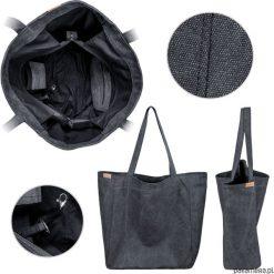Big Lazy bag torba czarna na zamek / vegan / eco. Czarne torebki klasyczne damskie Pakamera, w paski. Za 185,00 zł.