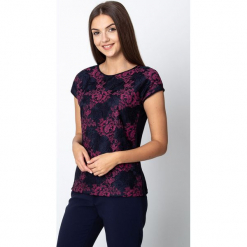 Granatowa bluzka z koronką w różowe kwiaty QUIOSQUE. Czarne bluzki koronkowe marki bonprix. Za 119,99 zł.