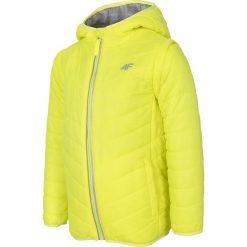 Kurtka puchowa 2w1 dla dużych dziewcząt JKUDP202 - żółty. Żółte kurtki chłopięce przejściowe marki 4F JUNIOR, na lato, z dzianiny. Za 79,99 zł.