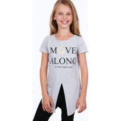 Tunika dziewczęca z rozcięciem jasnoszara NDZ8229. Szare sukienki dziewczęce marki Fasardi. Za 39,00 zł.