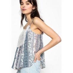 Bluzki asymetryczne: Gładka koszulka z dekoltem w serek, cienkie ramiączka