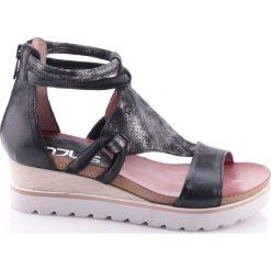 Rzymianki damskie: Skórzane sandały na koturnie, Tapas