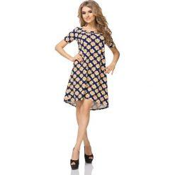 Sukienka Trapezowa z Krótkim Rękawem Wzór - Romby. Niebieskie sukienki mini marki bonprix, na spacer, na lato, w koronkowe wzory, z bawełny, dopasowane. Za 149,90 zł.