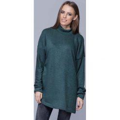 Swetry damskie: Morska Oversizowy Długi Sweter z Półgolfem