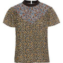 Bluzki asymetryczne: Bluzka shirtowa ze sznurowaniem na plecach bonprix czarny w kwiaty