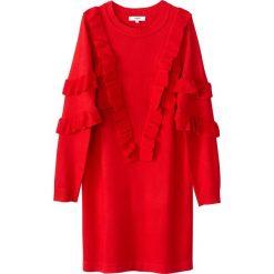 Długie sukienki: Krótka, swetrowa sukienka z falbankami, długi rękaw