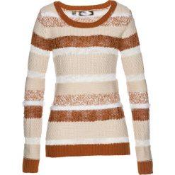 Swetry klasyczne damskie: Sweter bonprix beżowo-szaro-brązowo-biel wełny