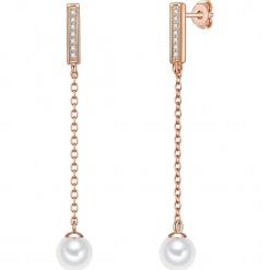 Pozłacane kolczyki-wkrętki z cyrkoniami i perlami w kolorze białym. Szare kolczyki damskie marki W.KRUK, z cyrkonią, pozłacane. W wyprzedaży za 227,95 zł.