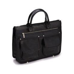 Męska nowoczesna torba, teczka GARNER. Czarne aktówki męskie marki Solier, w paski, ze skóry ekologicznej. Za 219,00 zł.