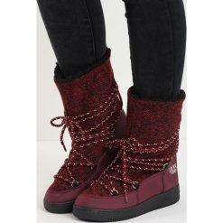 Bordowe Śniegowce The Moon. Czerwone buty zimowe damskie Born2be, z materiału. Za 79,99 zł.