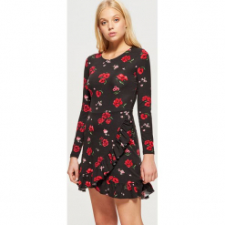 Kwiatowa sukienka MIX and MATCH - Czarny. Czarne sukienki marki Cropp, l. Za 89,99 zł.