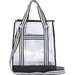 Torba na zakupy sporty. Czarne shopper bag damskie La Redoute Collections, w paski, z materiału. Za 126,38 zł.