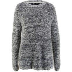 Sweter, długi rękaw bonprix czarno-biel wełny. Czarne swetry klasyczne damskie bonprix, z wełny. Za 99,99 zł.