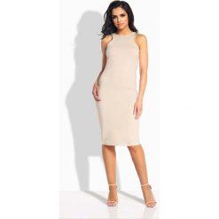Sukienki: Beżowa Sukienka Ołówkowa do Kolan bez Rękawów