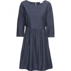Sukienka dżinsowa, rękawy 3/4 bonprix ciemnoniebieski. Niebieskie sukienki z falbanami marki bonprix. Za 89,99 zł.