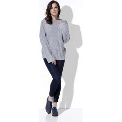 Swetry damskie: Szary Sweter w Prążek z Szerokimi Rękawami