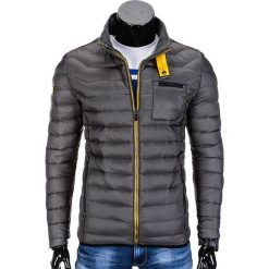 KURTKA MĘSKA PRZEJŚCIOWA PIKOWANA C292 - SZARA. Szare kurtki męskie pikowane marki Lacoste, z gumy, na sznurówki, thinsulate. Za 79,00 zł.