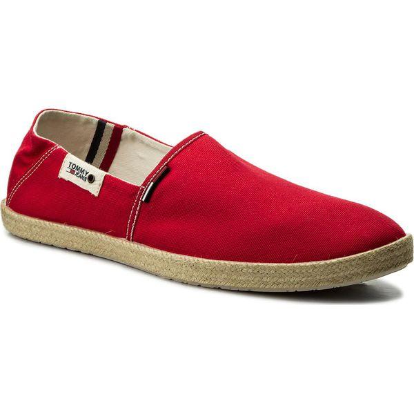 eaf63479482c8 Espadryle TOMMY JEANS - Summer Slip On Shoe EM0EM00027 Tango Red 611 -  Czerwone espadryle męskie Tommy Jeans, na co dzień, bez wzorów, z jeansu,  ...
