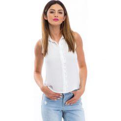 Bluzki damskie: Kremowa bluzka z falbanką 100