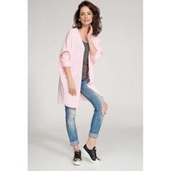 Odzież damska: Różowy Sweter Lekki Długi bez Zapięcia