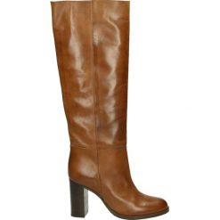 Kozaki - 8503 KIR CUOI. Brązowe buty zimowe damskie marki Kazar, ze skóry, przed kolano, na wysokim obcasie. Za 589,00 zł.