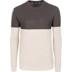Swetry klasyczne męskie: Sweter w kolorze brązowo-kremowym