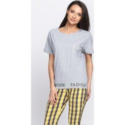 Bluzki asymetryczne: Szary T-shirt Fashion