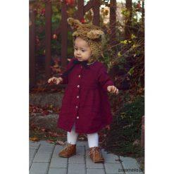 Czapka bonetka Ryś. Brązowe czapeczki niemowlęce marki Pakamera, w kwiaty, z bawełny. Za 98,00 zł.