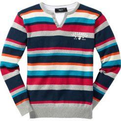 Sweter bonprix jasnoszary melanż w kolorowe paski. Szare swetry chłopięce marki bonprix, m, w kolorowe wzory, z podwójnym kołnierzykiem. Za 69,99 zł.