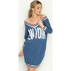 Bluzy damskie: Niebieska Bluza New York