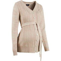 Sweter ciążowy rozpinany bonprix kremowy melanż. Brązowe kardigany damskie marki More & More, z poliesteru. Za 59,99 zł.
