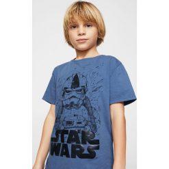 Mango Kids - T-shirt dziecięcy Star Wars 104-164 cm. Szare t-shirty chłopięce z nadrukiem marki Mango Kids, z bawełny, z okrągłym kołnierzem. W wyprzedaży za 29,90 zł.