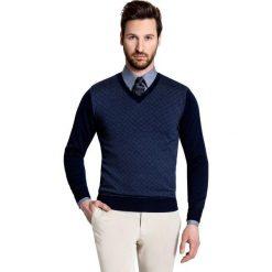 Sweter GREGORIO SWG000043. Niebieskie swetry klasyczne męskie Giacomo Conti, m, w geometryczne wzory, z tkaniny. Za 259,00 zł.