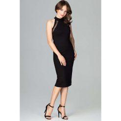 Czarna Ołówkowa Sukienka na Stójce z Tiulową Wstawką. Niebieskie sukienki balowe marki ARTENGO, z elastanu, ze stójką. Za 149,90 zł.