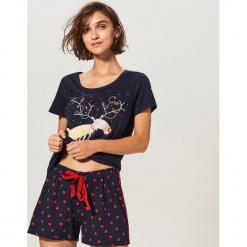 Dwuczęściowa piżama - Granatowy. Niebieskie piżamy damskie marki Reserved, l. Za 59,99 zł.