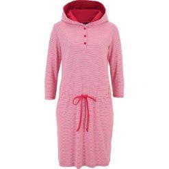 Sukienki: Sukienka shirtowa z kapturem bonprix czerwono-biały w paski