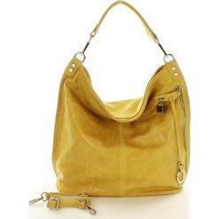 Torebki worki: Skóra naturalna torebka worek Isabella żółta