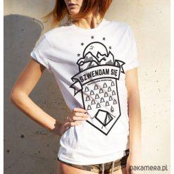 Bluzki, topy, tuniki: Koszulka damska - Szwendam się NAMIOT biała