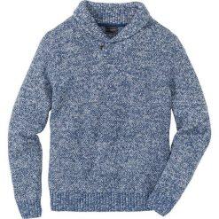 Sweter z szalowym kołnierzem Regular Fit bonprix jasny indygo melanż. Niebieskie swetry klasyczne męskie marki bonprix, l, melanż. Za 79,99 zł.