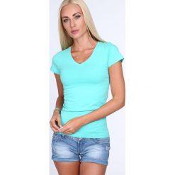 T-shirt dekolt w serek miętowy 2310. Zielone t-shirty damskie Fasardi, l, z dekoltem w serek. Za 29,00 zł.