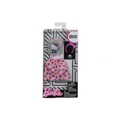 Spódniczki dziewczęce z falbankami: Barbie Hello Kitty szary top i różowa spódnica